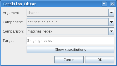 Condition editor with substitutions button